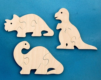 Wood Dinosaur Puzzles - Set of 3 Childrens Wooden Dino Toy Puzzles - Fun for Toddlers and Children