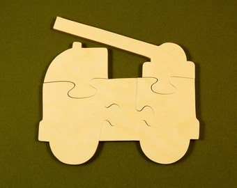Firetruck Puzzle - Wood Puzzle for Kids - Firetruck Party - Childrens Wood Puzzle - Jigsaw Puzzle- Firetruck Toy - Natural Wood Puzzle - Toy