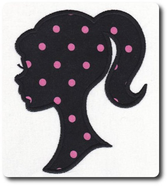 Applique Silhouette Girl Embroidery Design-Includes 3 Sizes