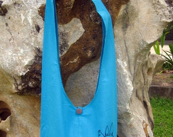 My Neighbor Totoro Hip/ Shoulder/ Sling Bag cotton Thai Cotton 9 deep sky blue