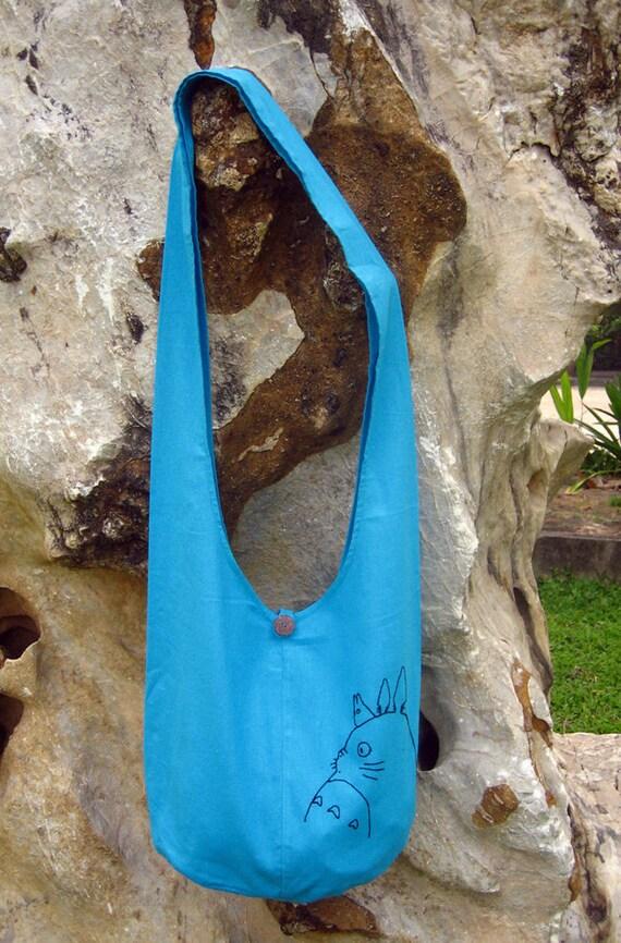 My Neighbor Totoro Hip/ Shoulder/ Sling Bag cotton Thai Cotton 9 deep sky blue