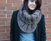 Brown Extra Chunky Cowl // Warm Thick Brown Speckled Infinity Scarf // Collared Ribbed Circle Cowl