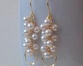 Modern Pearl Cluster Dangle Gold Hoop Earrings, Pearl Eternity
