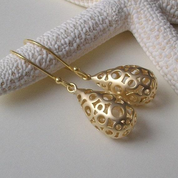 Gold Bubble Teardrop Earrings, Bridesmaids Jewelry, Modern Bridal Jewelry