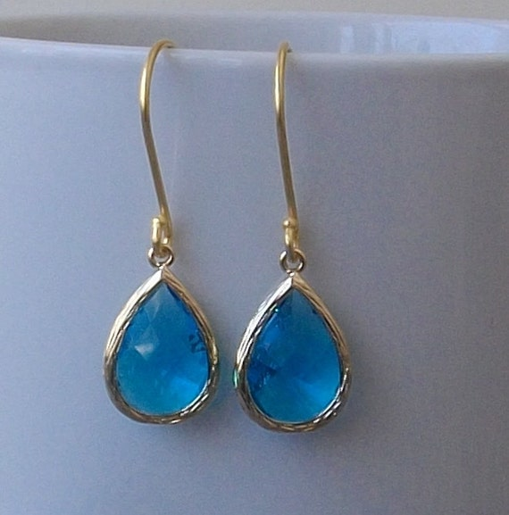 Bright Blue Crystal Earrings, Bright Blue Crystal Fashion Jewelry