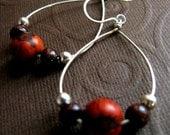 Acai Seed Hoops - Sterling Silver & Desert Orange / Eco Friendly