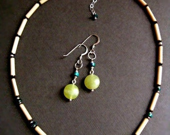 Sterling Silver Earrings Peruvian Turquoise, Serpentine