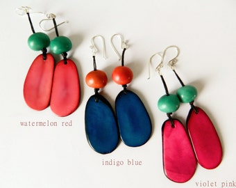 Tagua Earrings / Red & Aqua with Sterling Silver
