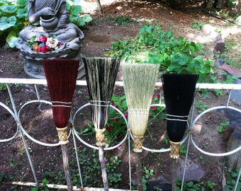 Rustic Children's Broom in your choice of Natural, Black, Rust or Mixed Broomcorn - Kids Broom - Miniature Witch's Broom