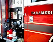 Red Firetruck Paramedic Fine Art Print- Car Art, Antique Car, Home Decor, Nursery Decor, Wall Art, Vintage Car