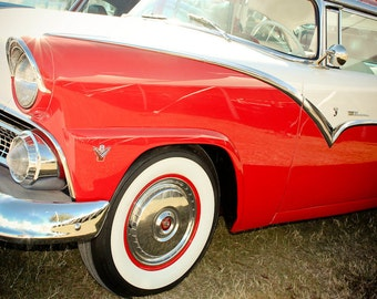 1955 Ford Crown Victoria Car Photography, Automotive, Auto Dealer, Muscle, Sports Car, Mechanic, Boys Room, Garage, Dealership Art