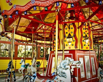 Carousel at County Fair (Merry-Go-Round) Fine Art Print- Carnival Art, County Fair, Nursery Decor, Home Decor, Children, Baby, Kids