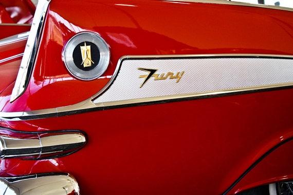1958 Chrysler Plymouth Fury Car Photography, Automotive, Auto Dealer, Muscle, Sports Car, Mechanic, Boys Room, Garage, Dealership Art