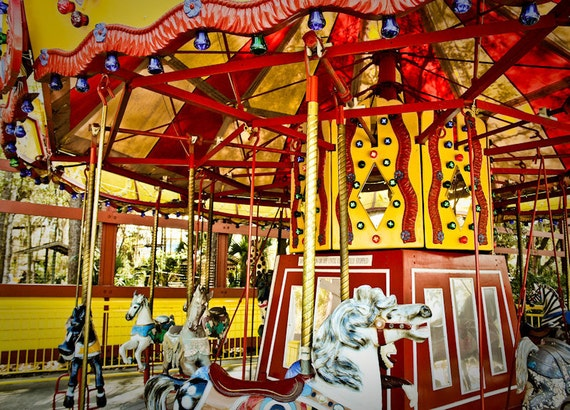 Carousel at County Fair (Merry-Go-Round) Fine Art Print- Carnival Art, County Fair, Nursery Decor, HomeDecor, Children, Baby, Kids