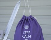 Small knitting project bag - Keep Calm and Carry Yarn - purple