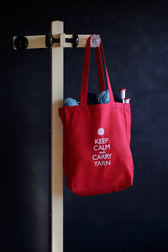 Canvas Knitting/Crochet Tote - Keep Calm and Carry Yarn - Red