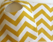 Gender Neutral Bib & Burp Cloth Gift Set . Eco-Organic . Yellow Chevron