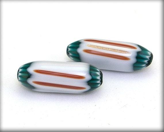 Glass chevron beads, Pair of Seymour Whimsy Chevron Beads with Aventurine