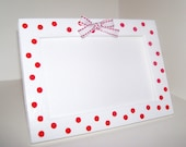 BETTY - White 4 x 6 Picture Frame w/ Red Polka Dots & Bow