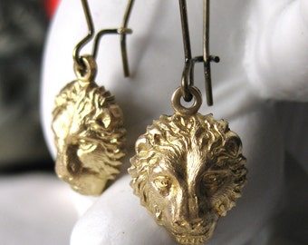 Lion Earrings Brass Gold lion jewelry lion head animal jewelry dangle earrings vintage lion earring handmade Leo Earrings lion drop earrings