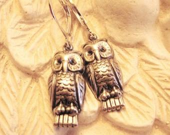 STUDIOUS OWLS - owl earrings vintage silver