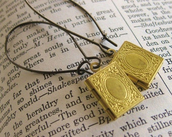 Book Locket Earrings brass vintage librarian gift book jewelry book pendant book lover for her book lover gift miniature book teacher gift