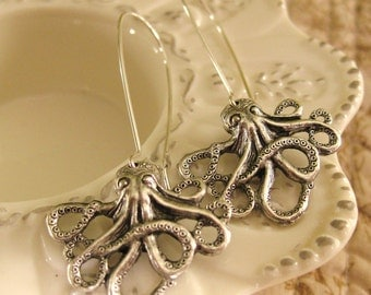 Silver Octopus Earrings Octopus Jewelry Octopi sea creatures dangle earrings unique earrings Pisces Jewelry Thailand Hill Tribe Nautical