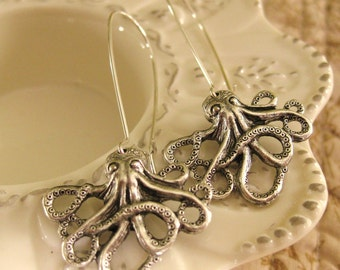 Silver Octopus Earrings Octopus Jewelry Octopi sea creatures dangle earrings unique earrings Pisces Jewelry Nautical beach earrings ocean
