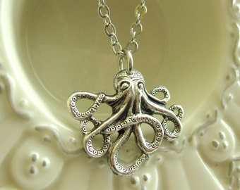 SILVER OCTOPUS NECKLACE nautical octopus jewelry womens necklace whimisical ocean inspired sea creature ocean vintage handmade octopus