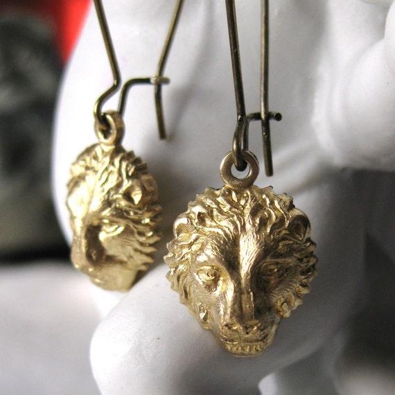 Lion Earrings Brass Gold lion jewelry lion head animal jewelry dangle earrings vintage lion earring handmade Leo Earrings lion drop earrings