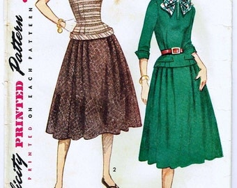 Vintage 1952  Two Piece Dress Pattern with Low Waist and Pleated Skirt Size 12 Simplicity 3997
