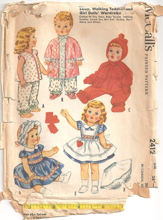 Vintage 1960 Betsy Wetsy, Tiny Tears Clothing Pattern includes Snow Suit, Dress and Pinafore McCall's 2412