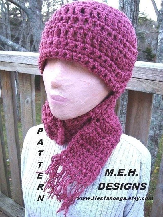 Crochet Womens Hat With Ear Flaps Pattern : Crochet Pattern hat num 218. Magenta LONG EAR-FLAP Hat adult