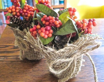 Autumn Centerpieces. Fall Decor. Thanksgiving Decor. Small Table Decorations. Earthy Colors Natural Woodland. Festive Home Decor - Set of 2