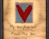 Primitive Folk Art Stitchery Sampler Pattern Book  Wedding Day Samplers Love Heart Keepsake Gift