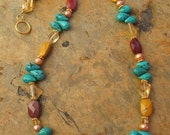 Handcrafted Mookite Turquoise Citrine Beaded Gemstone Gold Vermeil Necklace