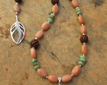 Artisan Handcrafted Peruvian Opal Gemstone Pendant and Wood Bead Necklace