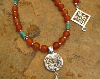 Orange Glass Bead and Turquoise Butterfly Pendant Necklace