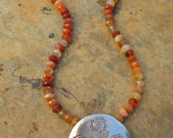 Artisan Handcrafted Large Flower Pendant Carnelian Necklace