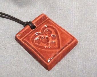 Ceramic Red Heart Porcelain Pendant