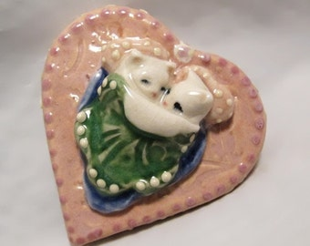 Ceramic Pink Heart Kitty Cuddles in Bed Sweet Art Decor Whimsical Sculpture Animals