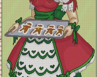 Gingerbread Christmas Lolita Cross Stitch Pattern - Professional Pattern Designer and Artist Collaboration