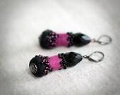 Purple earrings Felt earrings Black earrings Dangle earrings Elegant earrings Beaded earrings Christmas gift for mom under 50 USD