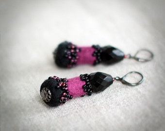 Purple black earrings from felt and glass beads - dangle elegant unique beaded jewelry under 50 USD