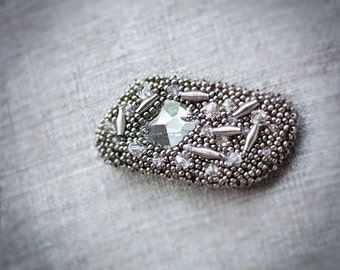 Metallic grey beaded brooch - Ready to ship now gift under 50 USD for her for him unisex - Shining metal work