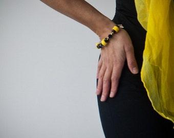 Yellow bracelet ON SALE Elegant vivid yellow and black bracelet with handmade felt Gift under 50 USD Be like a  bee bracelet