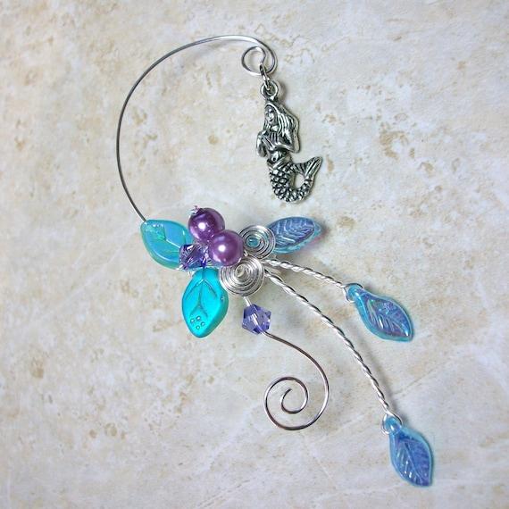 Mermaid Ear Cuff Climber Ear Jacket, Something Blue Beach Wedding Jewelry, Fantasy Mermaid Bridal Ear Cuff, No Piercing, Nickel Free Jewelry