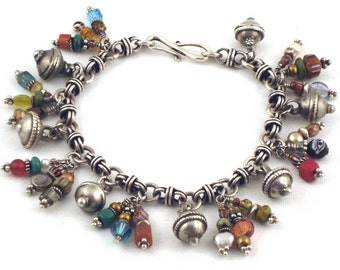 Silver Charm Bracelet, Beaded Charm Bracelet, Treasure Charm Bracelet, Tribal Bracelet