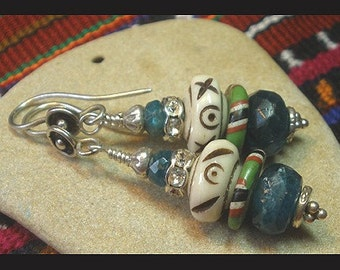 Apatite Earrings, Bohemian Apatite Earrings, Tribal Earrings, Boho Earrings, Artisan Earrings, OOAK Earrings, Dangle Earrings, SW Earrings