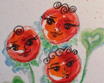 heart painting, Original watercolor, Modern Flower art,  Flower Girls,  Art with Hearts